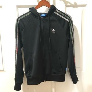 Adidas Zip-Up Hoodie with Floral stripes and hood